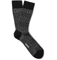 Missoni Crochet Knit Zig Zag Cotton Blend Socks Black