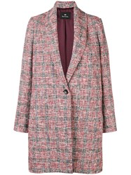 Paul Smith Ps By Oversized Multi Yarn Coat Red