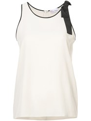 Red Valentino Lace Trim Tank Top Silk Crepe Nude Neutrals