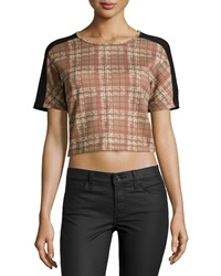 Romeo And Juliet Couture Short Sleeve Plaid Print Knit Crop Top Beige Mult
