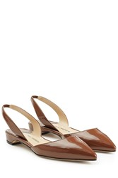 Paul Andrew Patent Leather Slingback Ballerinas Brown