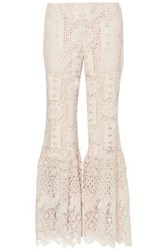 Anna Sui Woman Guipure Lace Flared Pants Cream