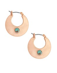 Lucky Brand Tropical Turquoise Hoop Earrings 1 Inch Rose Gold