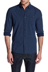 Indigo Star Phin Long Sleeve Printed Chambray Tailored Fit Shirt Blue