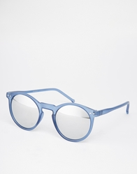 Asos Vintage Look Round Sunglasses Blue