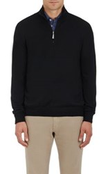 Barneys New York Men's Virgin Wool Mock Turtleneck Zip Front Sweater Black
