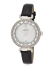 Adrienne Vittadini Pave Baguette Bezel Silvertone And Faux Leather Watch Black Silver