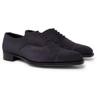 Kingsman George Cleverley Whole Cut Suede Oxford Shoes Navy