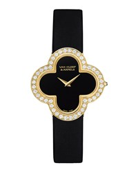 Alhambra Sertie Yellow Gold Watch Medium Van Cleef And Arpels Black