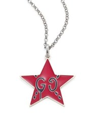 Guccighost Sterling Silver Star Pendant Red