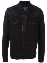 Marcelo Burlon County Of Milan Wing Print Denim Jacket Black