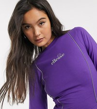 Ellesse Long Sleeve Top With Reflective Piping Purple