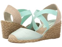 Lauren Ralph Lauren Casandra Mint Shantung Women's Wedge Shoes Green
