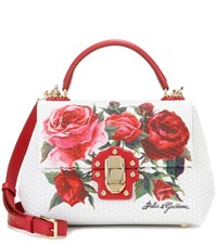 Dolce And Gabbana Lucia Floral Leather Handbag White