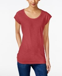 Styleandco. Style And Co. Petite Scoop Neck T Shirt Only At Macy's Dark Rose