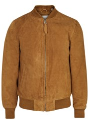 Schott Nyc Brown Suede Bomber Jacket Tan