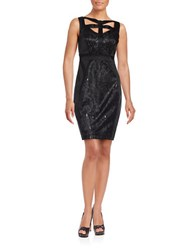 Jax Sleeveless Cutout Lace Accented Sheath Dress Black