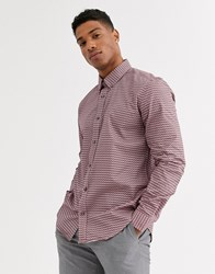 Ben Sherman Slim Fit Stripple Micro Geo Print Shirt Pink
