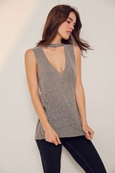 Truly Madly Deeply Cut It Out Muscle Tank Top Grey