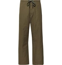Chimala Cropped Wide Leg Cotton And Linen Blend Twill Drawstring Trousers Army Green