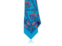 Ralph Lauren Purple Label Men's Floral Print Silk Necktie Turquoise
