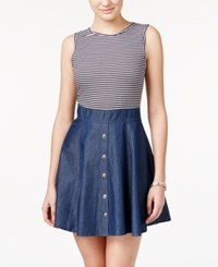 Teeze Me Juniors' Striped Chambray Fit And Flare Dress Indigo