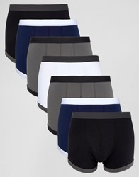 Asos Trunks In Navy And Grey With Contrast Binding 7 Pack Multi