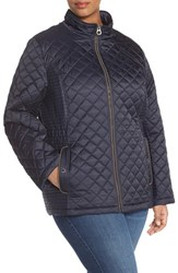 Plus Size Women's Laundry By Design Quilted Jacket With Detachable Hood Navy