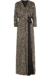 Jenny Packham Ada Sequined Georgette Wrap Gown Metallic