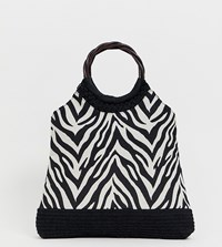 Accessorize Zebra Grab Bag With Wood Effect Handle Multi