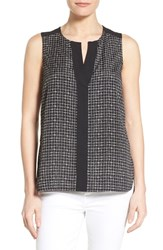 Women's Gibson Contrast Trim Print Sleeveless Top Black Cream