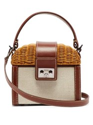 Rodo Wicker And Leather Box Bag Brown Multi