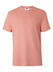 Topman Coral Ribbed Textured T Shirt Pink