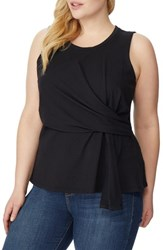 Rebel Wilson X Angels Plus Size Women's Asymmetrical Knit Tank Black