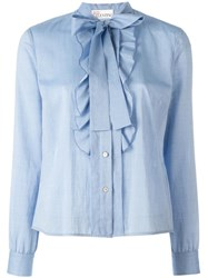 Red Valentino Pussy Bow Shirt Blue