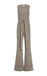 Co Herringbone Flared Jumpsuit Brown