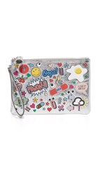 Anya Hindmarch Zip Top Pouch Silver Metallic