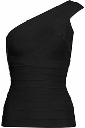 Herve Leger Sadie One Shoulder Bandage Top Black