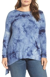 Vince Camuto Plus Size Women's Two By Tie Dye Rib Knit Step Hem Tunic