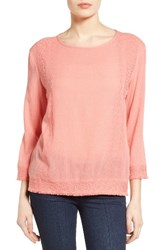 Caslonr Petite Women's Caslon Embroidered Crinkle Cotton Blend Top Pink Blossom