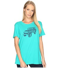 Life Is Good Offroad 4X4 Crusher Tee Bright Teal Women's T Shirt Blue