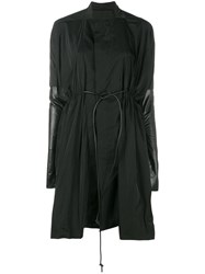 Rick Owens Leather Panel Sail Coat Black