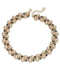 Charter Club Gold Tone Crystal And Imitation Pearl Collar Necklace Created For Macy's