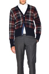 Thom Browne Tartan Plaid Wool Cardigan In Red Checkered And Plaid Red Checkered And Plaid