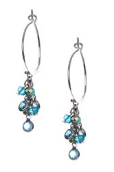 Spring Street Beaded Hoop Earrings Blue
