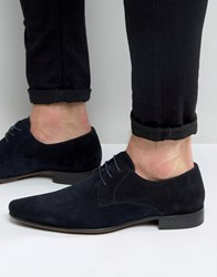 Asos Pointed Derby Shoes In Navy Suede Navy