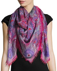 Liberty London Hera Feather Print Cashmere And Silk Square Scarf Red