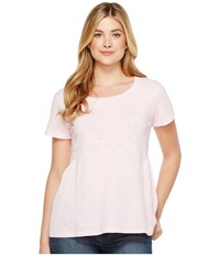 Dylan By True Grit Soft Slub Cotton Short Sleeve Side Rib Ruffle Tee Summer Pink Women's Short Sleeve Pullover