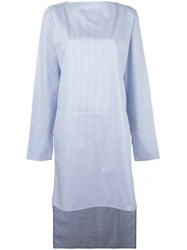 Lucio Vanotti High Low Hem Striped Tunic Blue