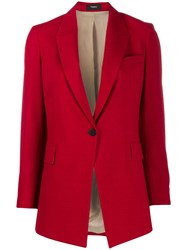 Theory Long Cutaway Front Blazer Red